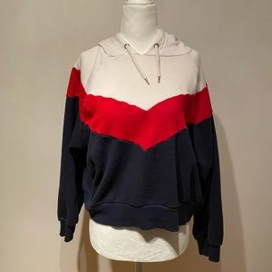 super cute white red and navy blue hoodie
